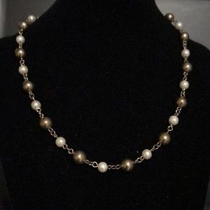 Gold color and white beaded chain necklace